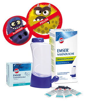 Emser® Nasendusche mit Emser® Nasenspülsalz Portionsbeutel und Comicdarstellung von Pollen und Viren als Nasenmonster